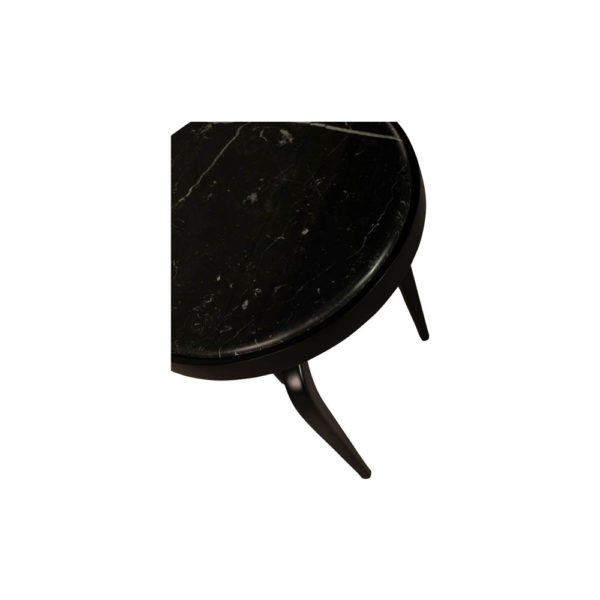 Sasha Black Wood with Marble Top Side Table Details