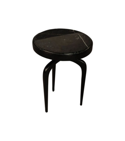 Sasha Black Wood with Marble Top Side Table Top View
