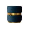 Saskia Upholstered Round Blue Velvet Pouf with Brass Inlay 2