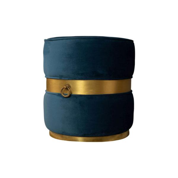 Saskia Upholstered Round Blue Velvet Pouf with Brass Inlay