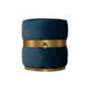 Saskia Upholstered Round Blue Velvet Pouf with Brass Inlay 1