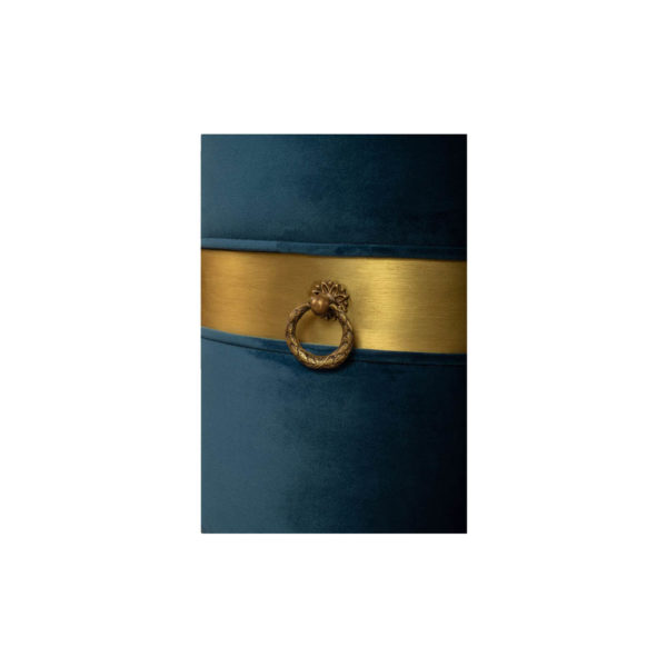 Saskia Upholstered Round Blue Velvet Pouf with Brass Inlay Details