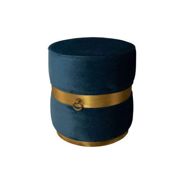Saskia Upholstered Round Blue Velvet Pouf with Brass Inlay Top View