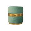 Saskia Upholstered Round Turquoise Velvet Pouf with Brass Inlay 1