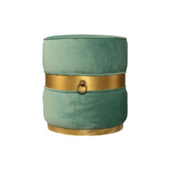 Saskia Upholstered Round Turquoise Velvet Pouf with Brass Inlay