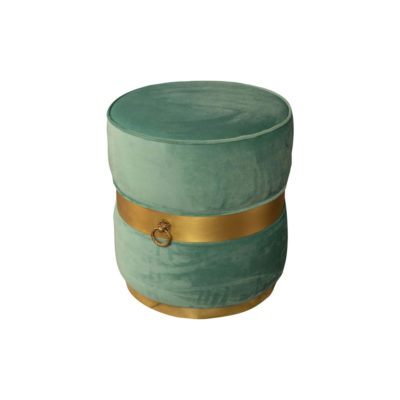 Saskia Upholstered Round Turquoise Velvet Pouf with Brass Inlay Top View