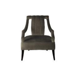 Shelley Upholstered Dark Grey Armchair with Black Wood Legs