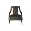 Shelley Upholstered Dark Grey Armchair with Black Wood Legs 1