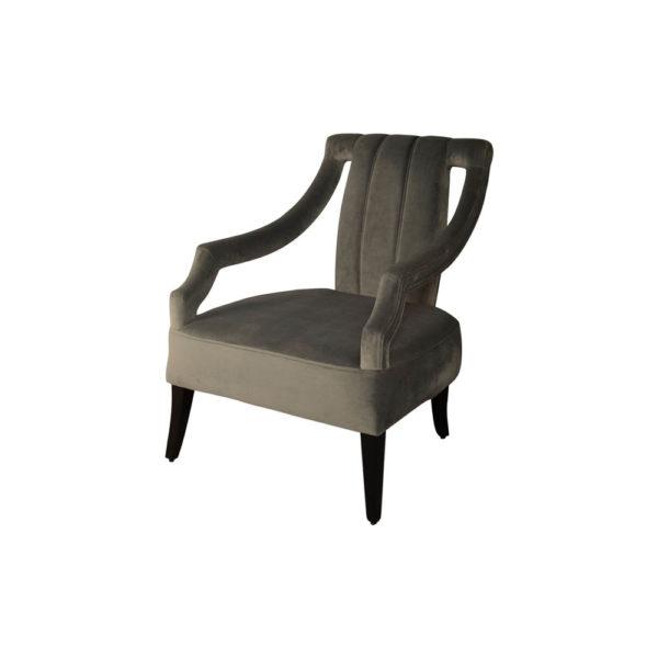 Shelley Upholstered Dark Grey Armchair with Black Wood Legs Beside View