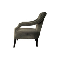 Shelley Upholstered Dark Grey Armchair with Black Wood Legs Side View