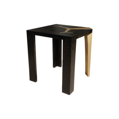 Tree Distressed Square Wood and Stainless Side Table