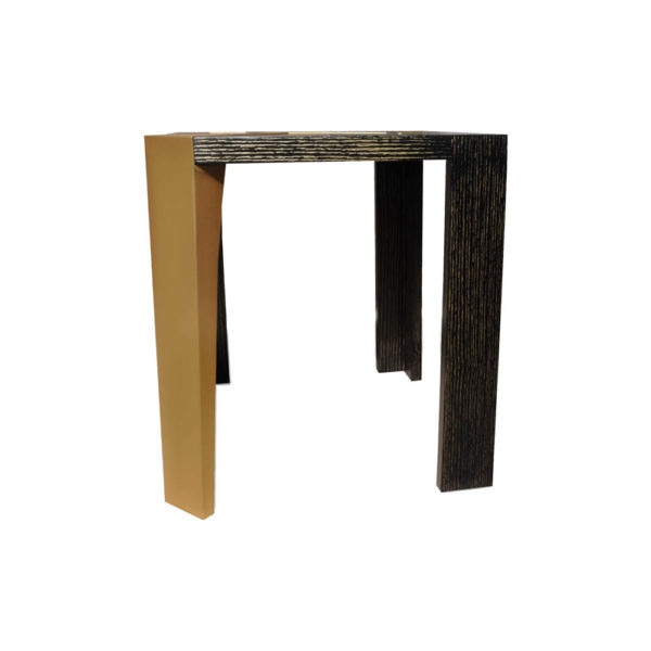 Tree Distressed Square Wood and Stainless Side Table Side View