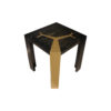 Tree Distressed Square Wood and Stainless Side Table 3