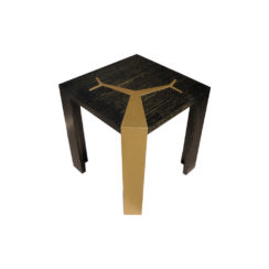Tree Distressed Square Wood and Stainless Side Table Top View