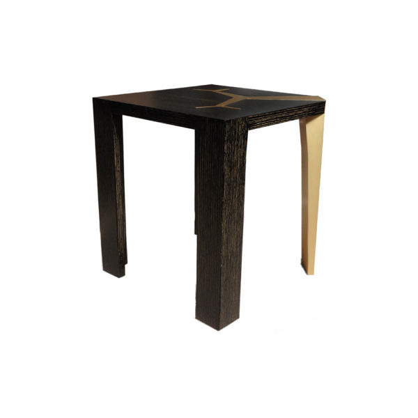 Tree Distressed Square Wood and Stainless Side Table View