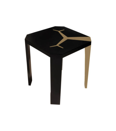 Tree Square Wood Side Table with Stainless Steel