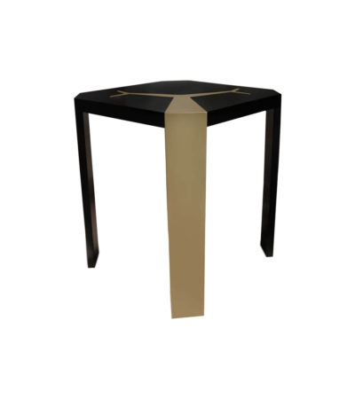 Tree Square Wood Side Table with Stainless Steel Corner Top View