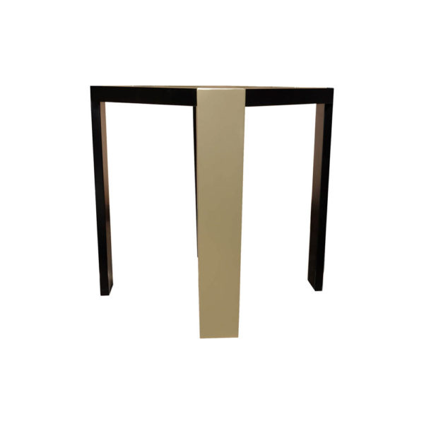 Tree Square Wood Side Table with Stainless Steel Corner View