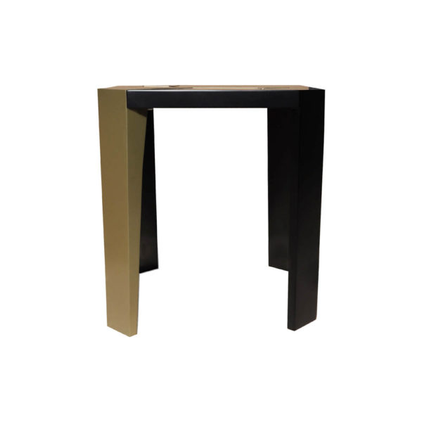 Tree Square Wood Side Table with Stainless Steel Front View