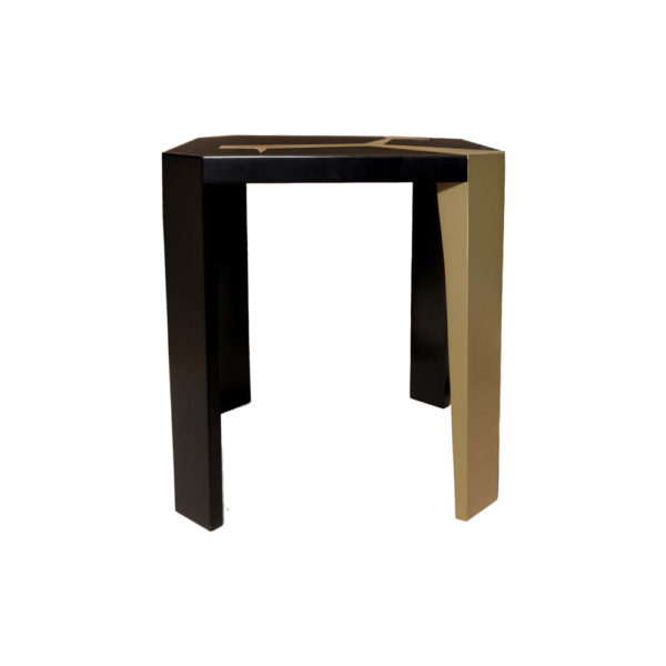 Tree Square Wood Side Table with Stainless Steel Side View