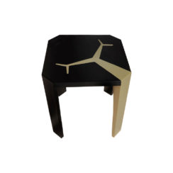 Tree Square Wood Side Table with Stainless Steel top