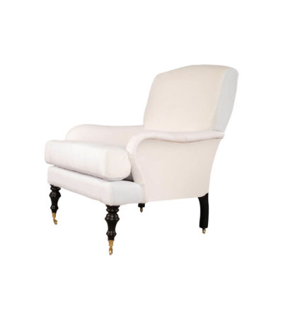 Warlus Upholstered High Back Armchair with Brass Inlay Side View