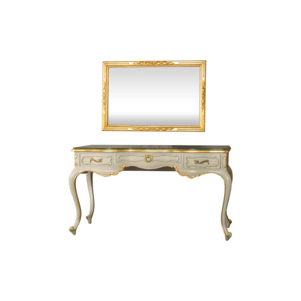 Watson Wood Light Grey Console Table with Mirror Glass Top