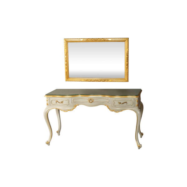 Watson Wood Light Grey Console Table with Mirror Glass Top View