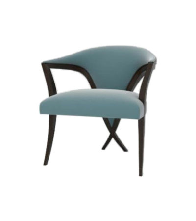 Zelle Upholstered Curved Arm Chair with Cross Legs Side View