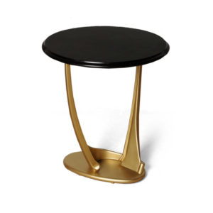 Anita Dark Brown And Gold Circular Side Table