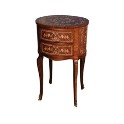 Avery Antique Side Table with Two Drawers and Marquetry Veneer Inlay