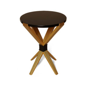 BonBon Dark Brown And Gold Cross Leg Round Side Table