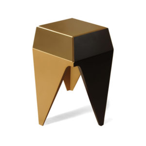 Diamond Hexagonal Black And Gold Side Table