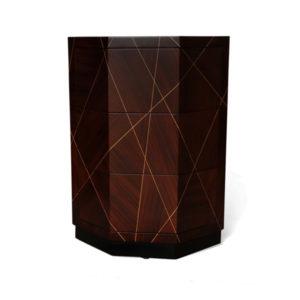 Drue Dark Brown 3 Drawer Bedside Table