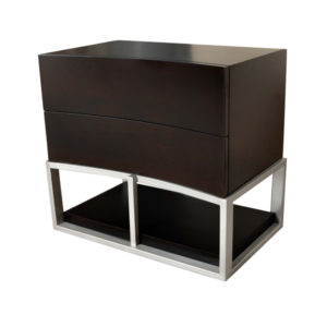Dusk Two Drawers Wood And Stainless Steel Bedside Table