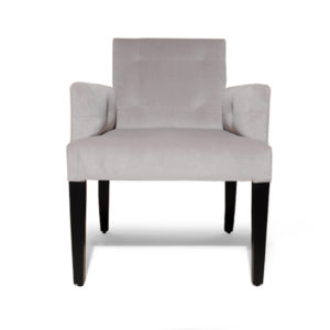 Edmund Upholstered Square Arm Chair With Wooden Legs Front