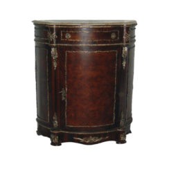 Elissa Half Moon Wooden Chest Marble Top and Natural Veneer Inlay