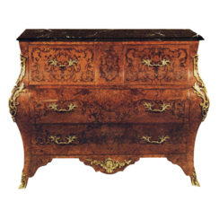 French Chest of 3 Drawers with Marquetry Veneer Inlay and Brass Ornament