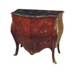 French Chest of Drawers Marble Top with Marquetry Veneer Inlay