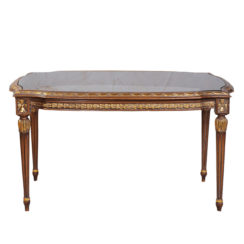 French Coffee Table Top Glass Detailed Hand Carved Wood
