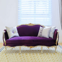 French Style Sofa Purple