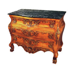 Hand Carved 3 Drawers Chest with Marble Top