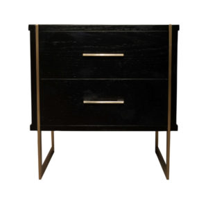 Hayman Wood Bedside Table With Brass Legs