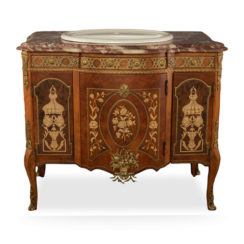 Ketho Marquetry Wood with Marble Top Vanity Unit