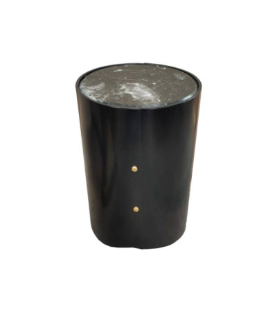 Kitel Black Round Marble Topped Side Table Top View