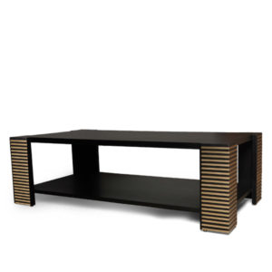 Pharo Rectangular Coffee Table Black Lacquer With Brass Strips