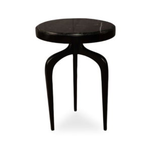 Sasha Black Wood With Marble Top Side Table