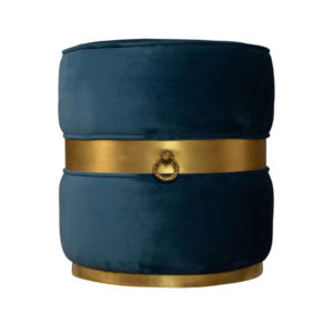 Saskia Upholstered Round Blue Velvet Pouf With Brass Inlay