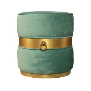 Saskia Upholstered Round Turquoise Velvet Pouf With Brass Inlay