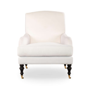 Warlus Upholstered High Back Armchair With Brass Inlay